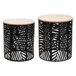 Lot de 2 tables à café Feuilles Noires Atmosphera