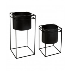 Lot de 2 pots avec supports en métal noir Atmosphera