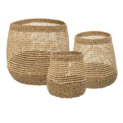 Lot de 3 paniers deco Ronds Ajourés Atmosphera
