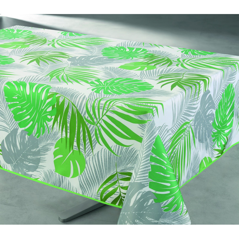 Nappe antitache imprimée Tropical vert rectangulaire 145 x 240 cm