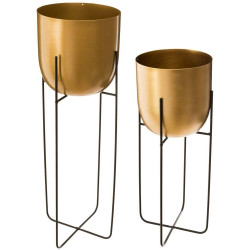 Lot de 2 pots avec supports en métal doré Atmosphera