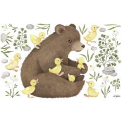 Sticker Lilipinso Ours brin et Cannetons 64 x 40 cm