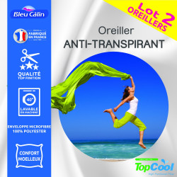 "Lot de 2 oreillers Anti transpirant Topcool 60 x 60 cm ""Bleu Calin"""