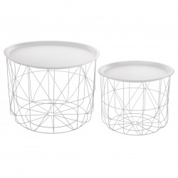 Lot de 2 tables café déco métal Matt blanc