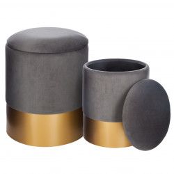 Lot de 2 poufs coffre gris Spirit Atmosphera