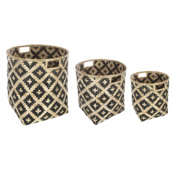 Lot de 3 paniers deco bambou bicolore Atmosphera
