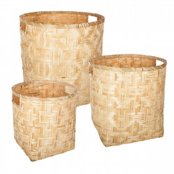 Lot de 3 paniers deco bambou naturel Atmosphera