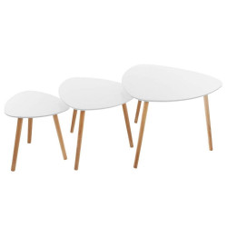 Lot de 3 tables café blanc Miléo Atmosphera